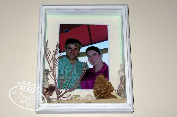A beach vacation shadow box I made with sand and shells from out trip to the Keys.