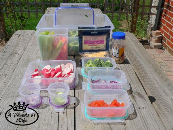 Make a salad bar box! Have ready prepared veggies easily available and ready to eat!  #saladbar #fresh #veggies #easy #healthy
