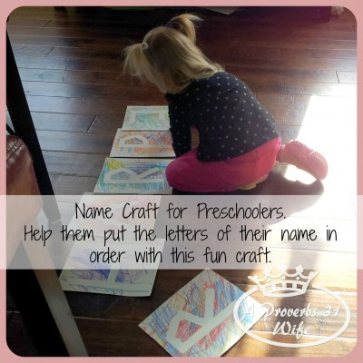 Puting the letters in order name craft for preschoolers. #preschool #letters #name