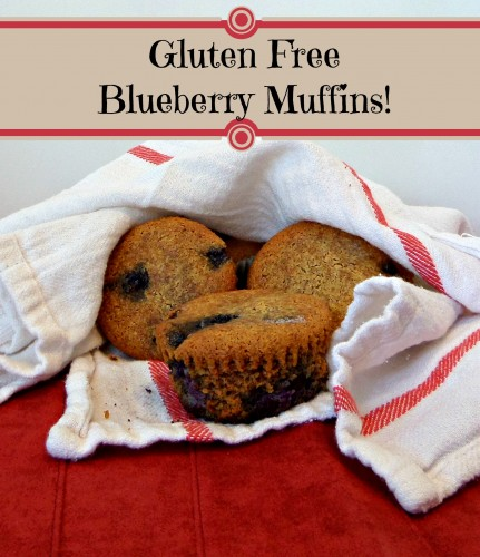 A deliciously moist recipe for gluten free blueberry muffins made with almond flour.  #glutenfree #blueberrymuffins