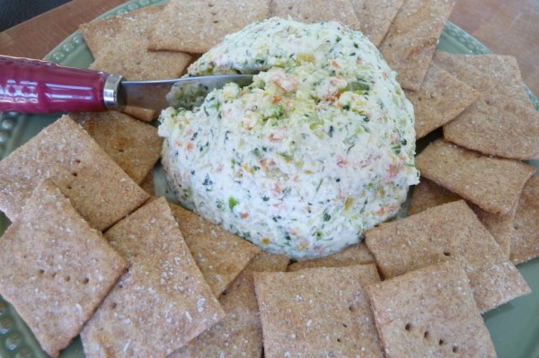 More healthy snacks. Gluten free crackers and veggie dip.