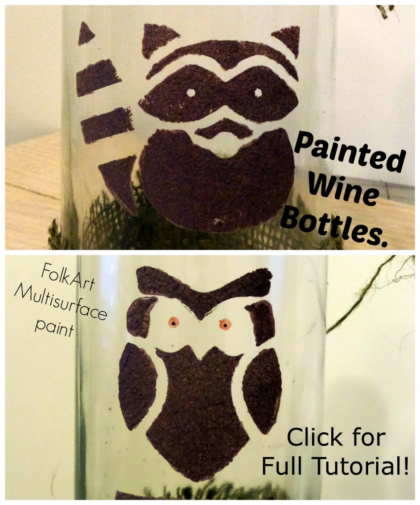 Whimsey painted wine bottles for fun decor