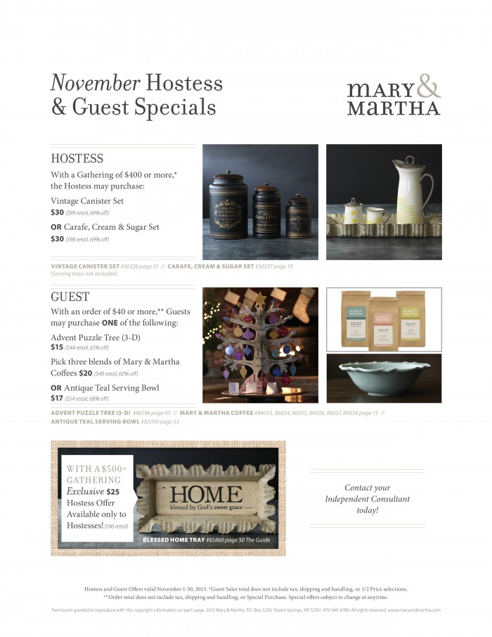 Mary and Marthas Holiday Sales and Gift Ideas for you!