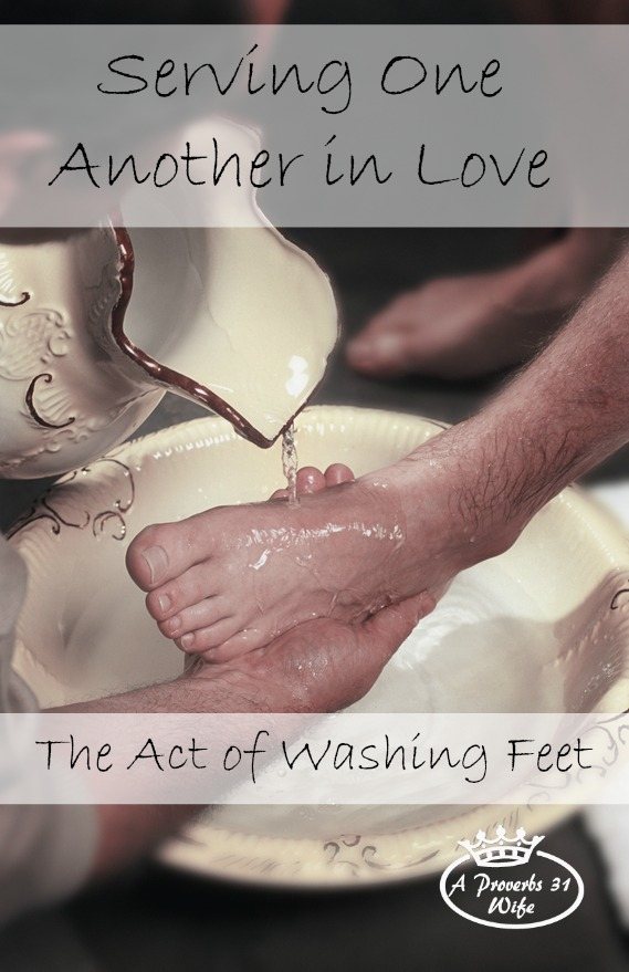Serving one another in love through the act of washing feet.