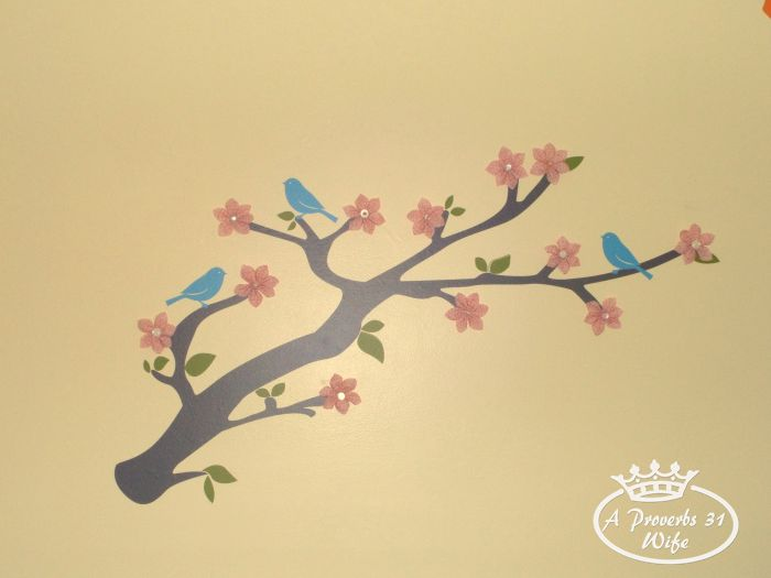 Tree branch on baby room wall