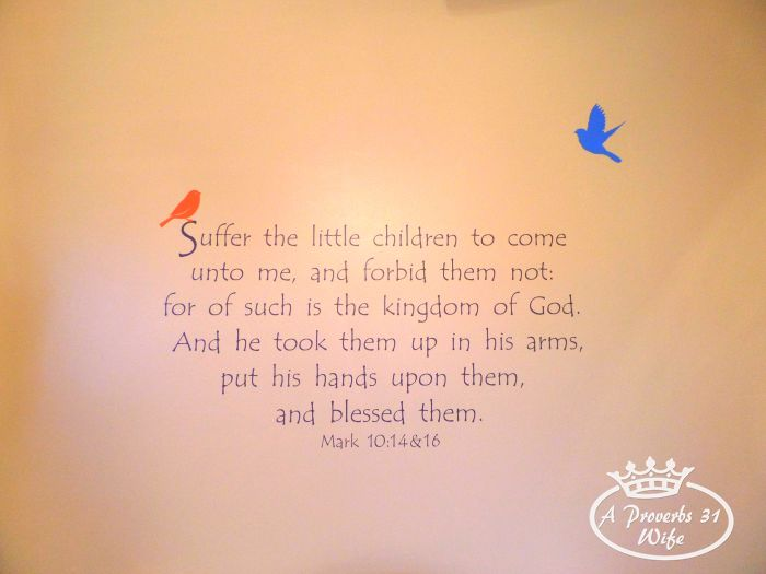 Suffer the little children to come unto me. Bible verse on wall