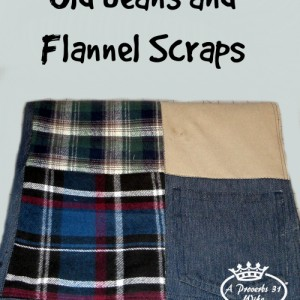 Repurposing old jeans and fabric scraps to make a picnic blanket