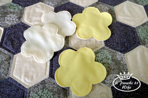 Use scraps from making cloth diapers to make homemade nursing pads.