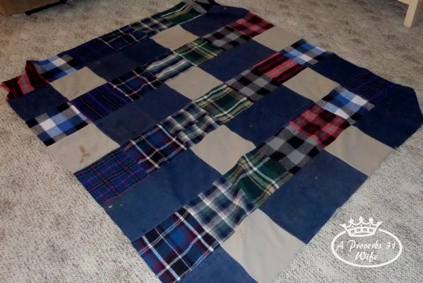 Picnic blanket made from old jeans and fabric scraps