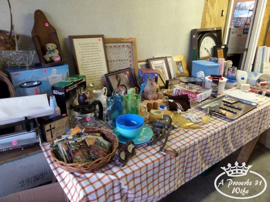 Garage sale ideas. Organize your items by catagories, so people can easily see what's being offered.