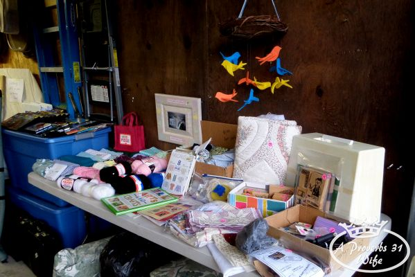 Garage sale ideas. Clearly organize items.