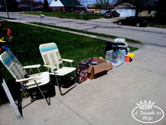 Garage sale ideas. Put kids toys and big items outside to attract more customers.