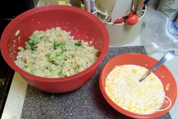 For this quinoa bake recipe mix both bowls of stuff together and stir well.