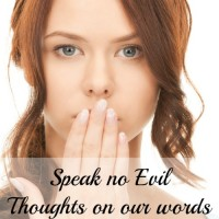 A challenge to speak no evil. To guard our thoughts and our lips so that nothing negative comes out.