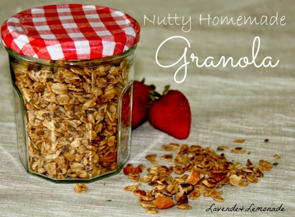 Nutty homemade granola to give as last minute food gifts for Christmas.