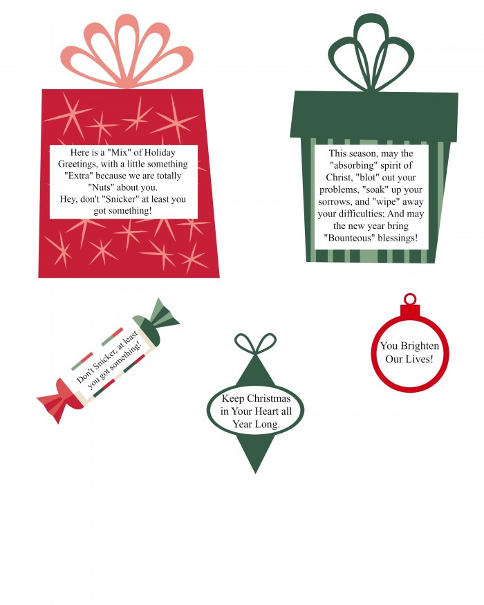 Printable funny Christmas gift labels. Punny gifts to give