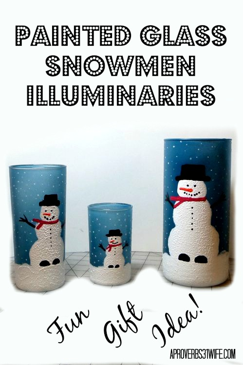 Snowmen Painted Glass Illuminaries