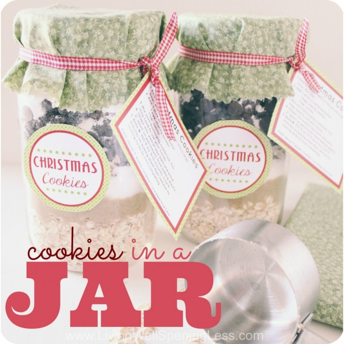 Basic cookie mix in a jar to give as gifts.