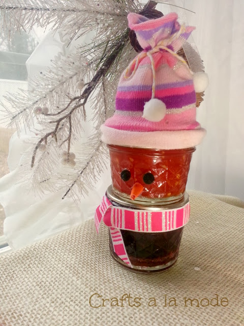 Jelly jar snowman gift