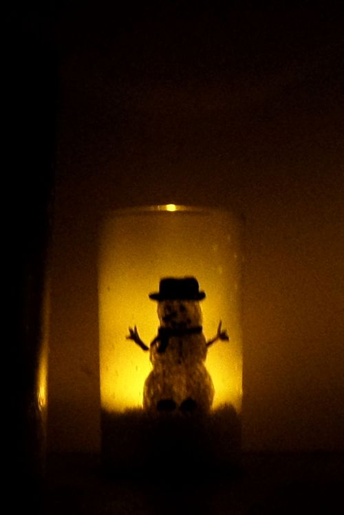 Snowman illuminary to be given as a diy Christmas gift.
