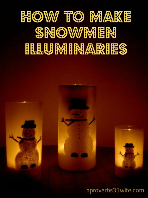 How to make snowmen painted glass illuminaries. Tea lights make these painted snowmen really glow!