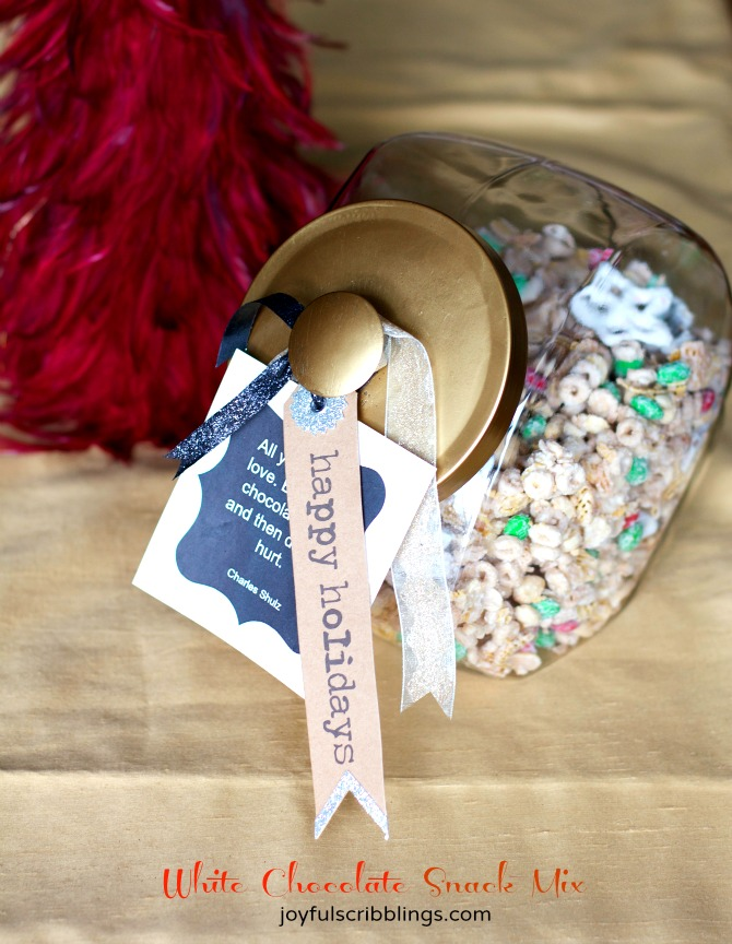 White chocolate snack mix and printable to give as last minute food gifts.