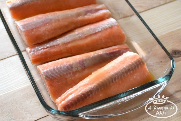 Marinate salmon in maple butter glaze.