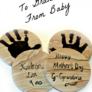 To Grandma from baby. DIY personalized handprint coasters to give grandma for mother's day. #BestMothersDayEver #ad