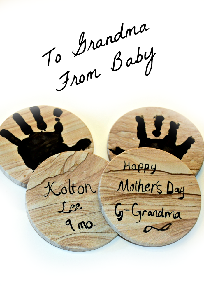 To Grandma from baby. DIY personalized handprint coasters to give grandma for mother's day. #BestMomsDayEver #ad