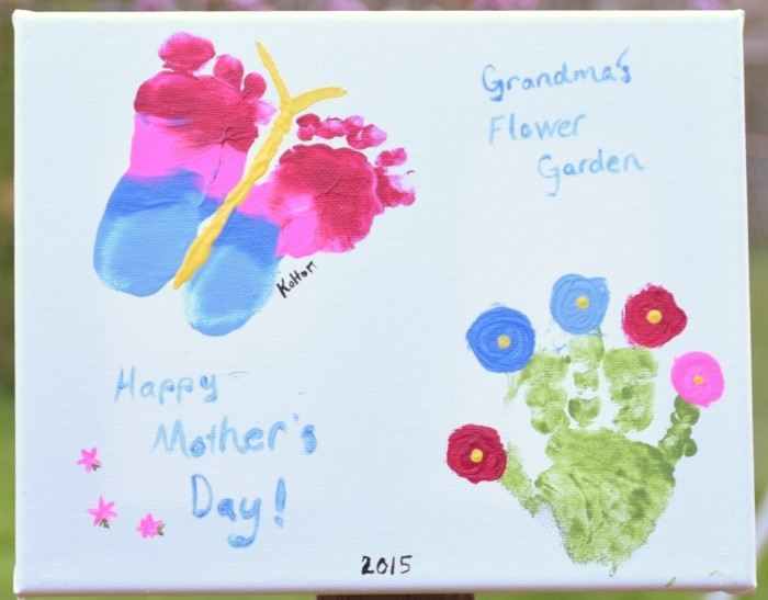 Grandma's flower garden. A Handprint and Footprint craft for grandma on Mother's day.