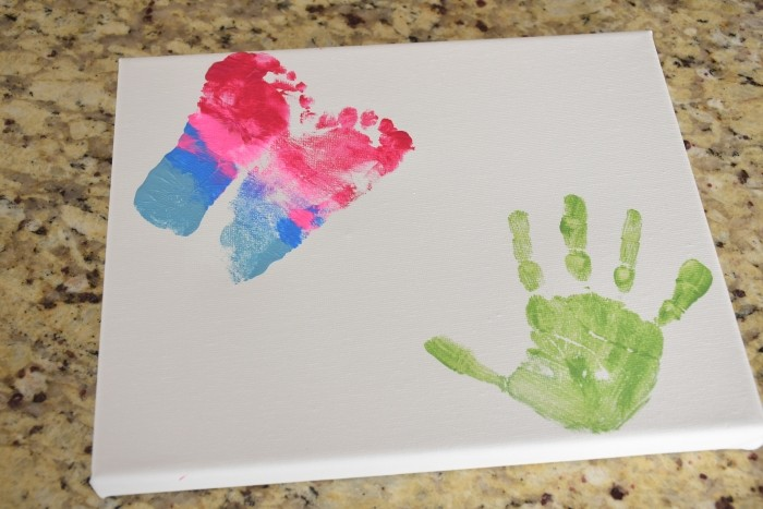Handprint and footprint craft for mother's day.