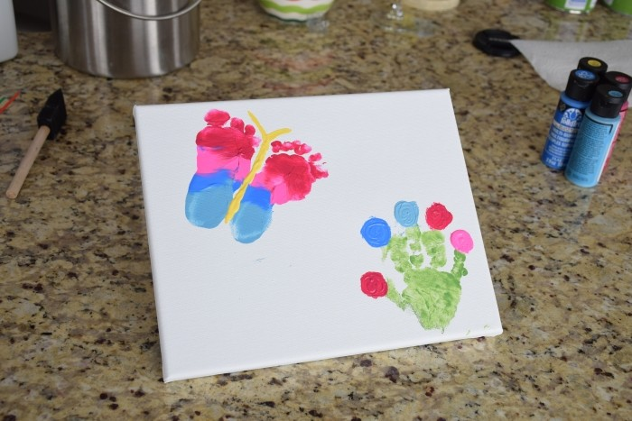 Grandma's flower garden. A hand and footprint craft for mother's day.