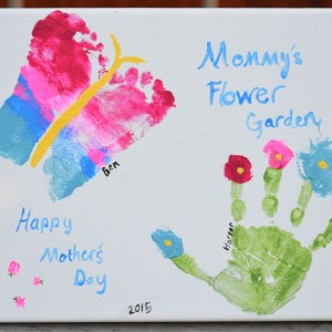 Mommy's flower garden. A hand and footprint craft for mother's day.