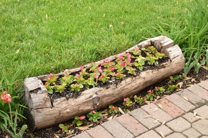 Memories of a job done well. Old log turned into a flower planter. #MobileMemories #FamilyMobile #ad