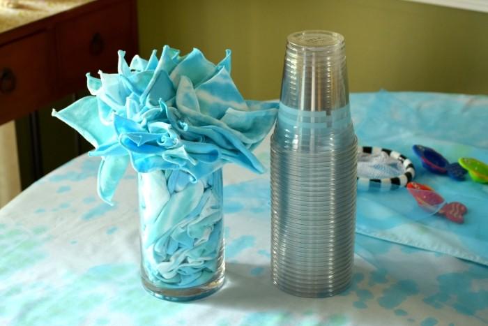 tie dye napkins for a summer themed baby's 1st birthday party
