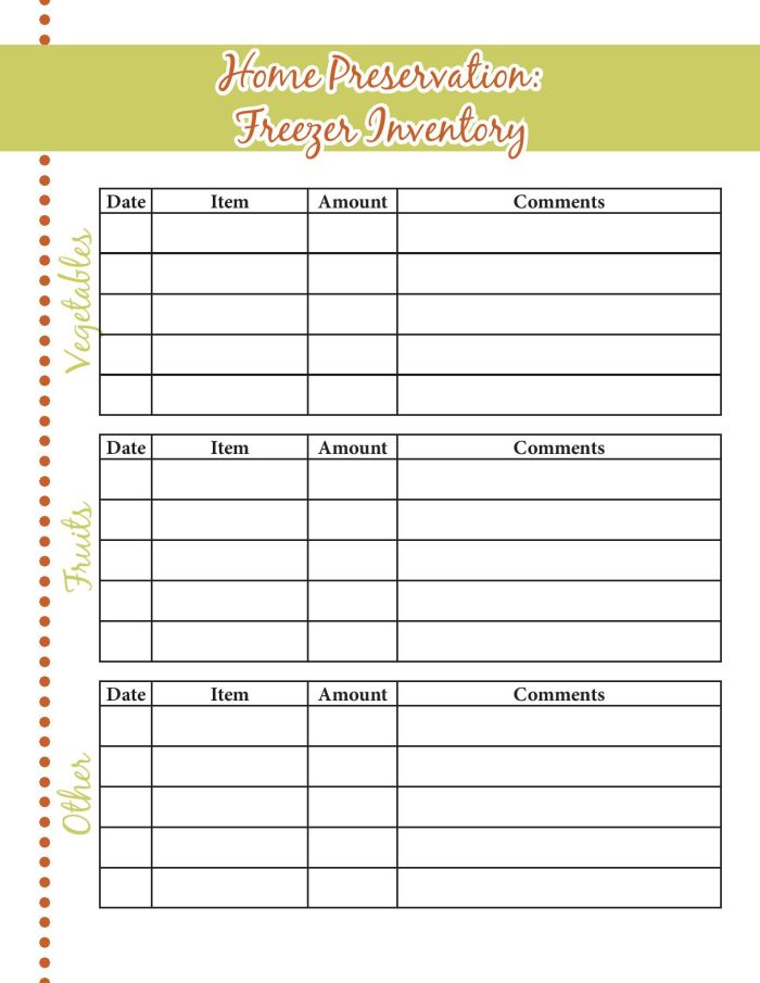 Free printable food storage inventory sheets to help keep your home preserved foods organized.