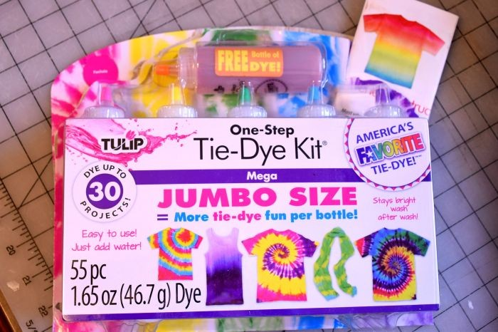 Tulip® tie dye kit used to make a tie dye tablecloth