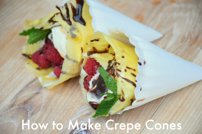 Crepe cone recipe. These are crazy easy to make and so fun to eat! Wow your friends and family at your next gathering with these tasty crepe cones.