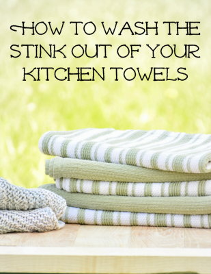 How to remove the stink from kitchen towels. Here's why your dish towels get a funky smell to them and how to get rid of that smell.