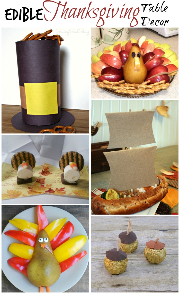 "Thanksgiving is about far more than just food, but food can definitely make it ""Thanksgiving"". Why not make it even better with foods that double as decor! These fun edible thanksgiving table decor ideas should get you started."