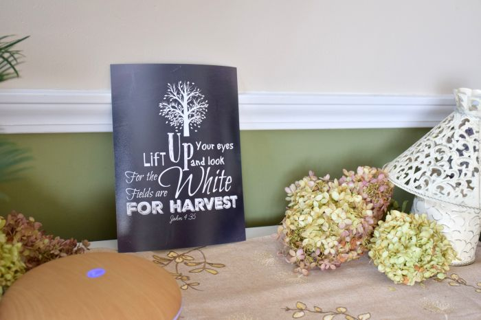 Bringing it all together. The final post in our harvest devotional series. A look at what we've learned and see how pretty the printables look all printed out and displayed. Free fall, harvest printables