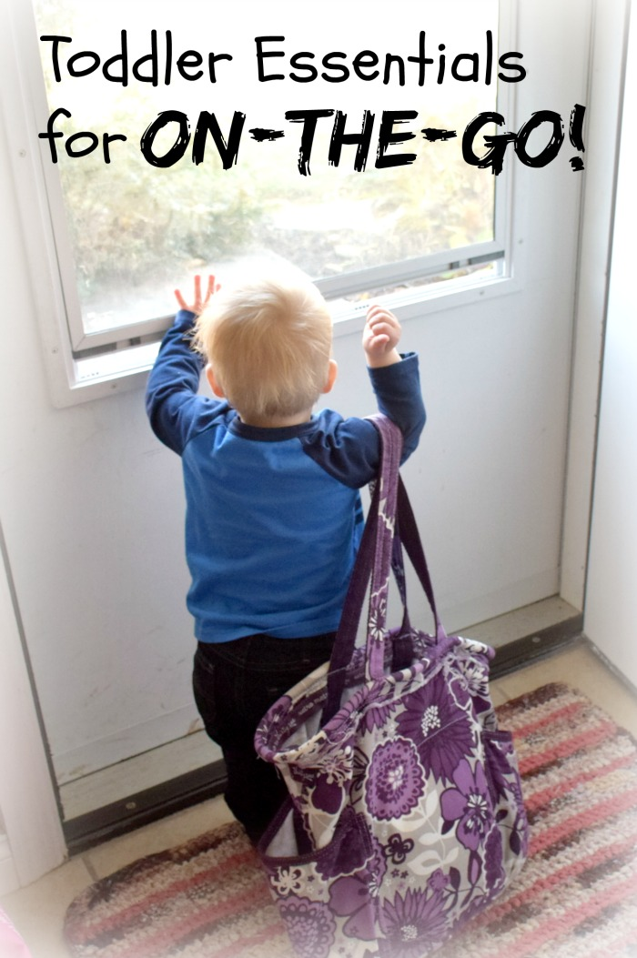 Toddlers don't need as much stuff as babies when you are out, but they do need some stuff and I'm good at forgetting. I just stocked my diaper bag with the bare necessities. Click for your list of toddler essentials for on-the-go