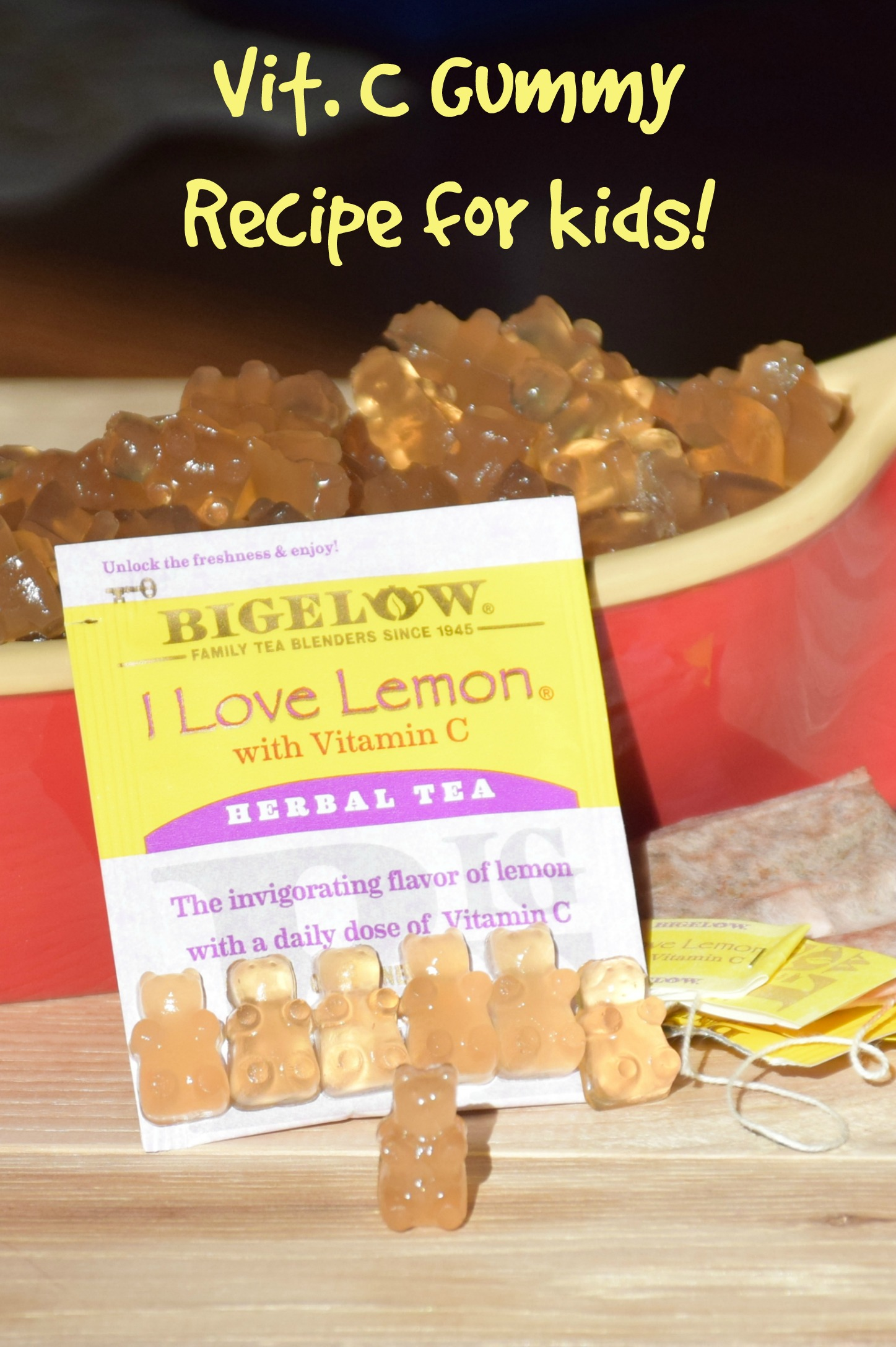 Looking for a preservative, dye and corn sugar free vitamin c for toddlers? Try this vitamin C gummy recipe for toddlers quick and easy to make and kids love them! #MeAndMyTea #ad #cbias