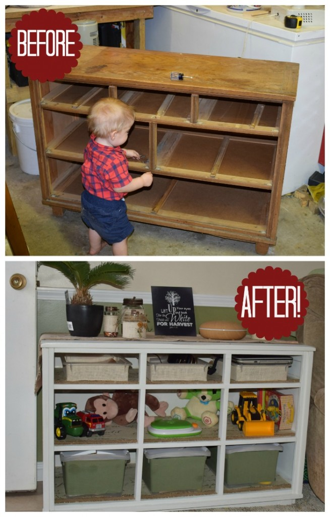 The old dresser to toy shelves makeover. Dresser before and after makeover.