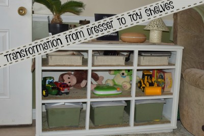 The old dresser to toy shelves makeover