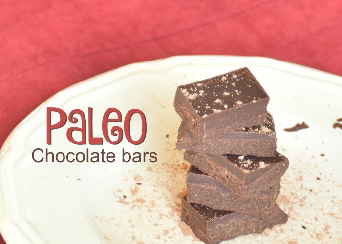 Recipe for homemade dark chocolate bars, paleo approved!