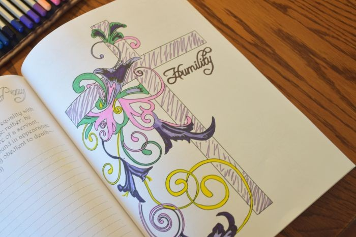Cross and floral designs to color