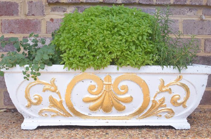 Diy gold leafing on concrete planters