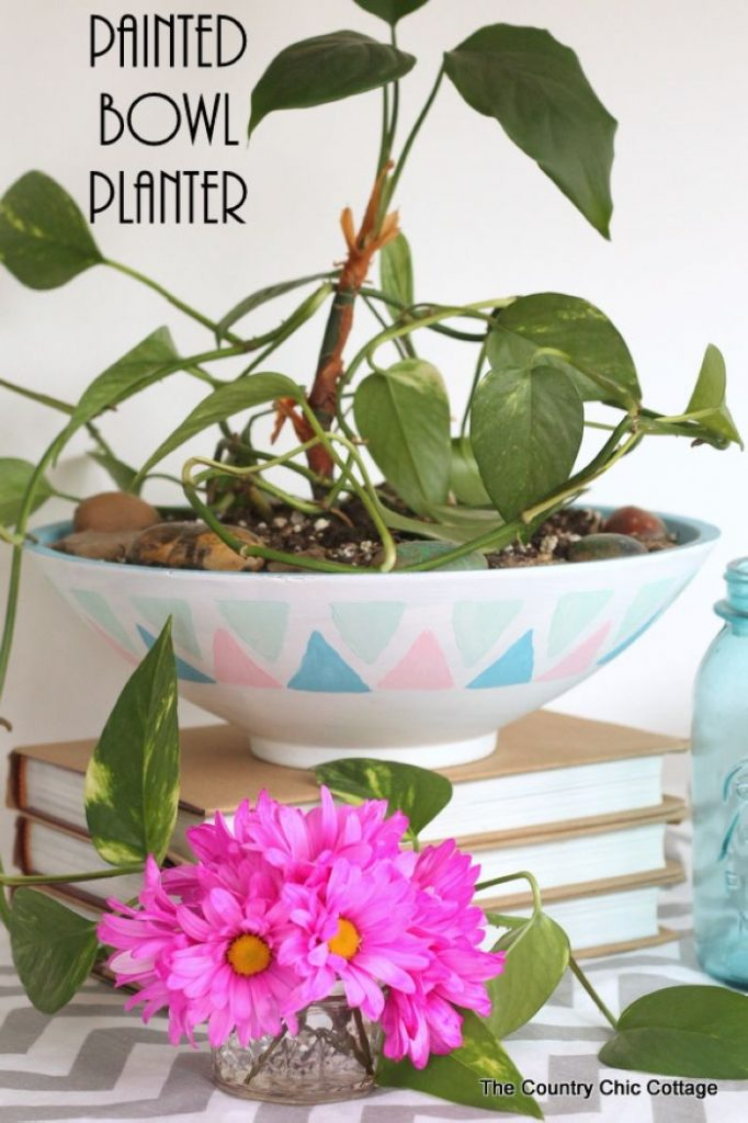 Make a painted bowl for a planter