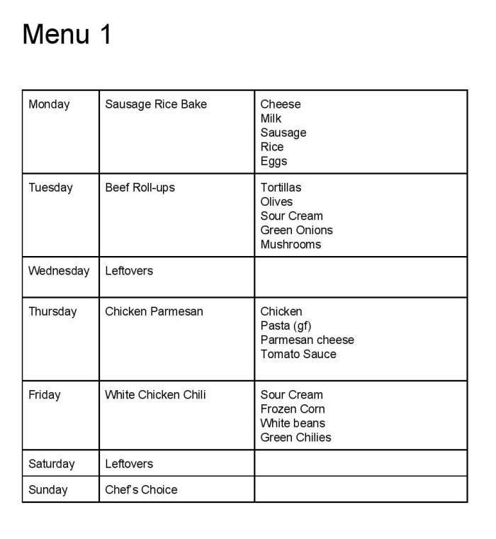 Weekly dinner menu ideas a proverbs 31 wife for Ideas for dinner menu